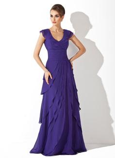 A-Linie/Princess-Linie V-Ausschnitt Sweep/Pinsel zug Chiffon Abendkleid mit Gestufte Rüschen (017020663)