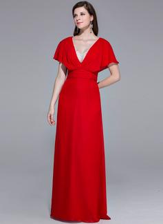 Etui-Linie V-Ausschnitt Bodenlang Chiffon Abendkleid mit Rüschen Perlen verziert (017025467)