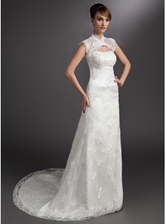 A-Line/Princess Sweetheart Court Train Satin Lace Wedding Dress With Beadwork (002000178)