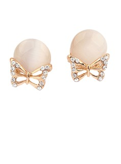 Butterfly Shaped Alloy/Resin With Rhinestone Ladies' Earrings (011034518)