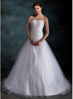 Ball-Gown Sweetheart Court Train Taffeta Tulle Wedding Dress With Ruffle Lace Beadwork (002000160)