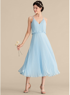 A-Line V-neck Tea-Length Chiffon Cocktail Dress With Pleated (016192791)