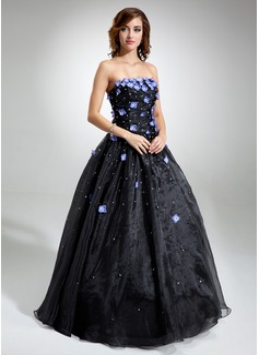 Duchesse-Linie Trägerlos Bodenlang Organza Quinceañera Kleid (Kleid für die Geburtstagsfeier) mit Perlen verziert Blumen Pailletten (021020827)