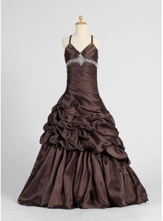 A-Line/Princess V-neck Floor-Length Taffeta Flower Girl Dress With Ruffle Beading (010005885)