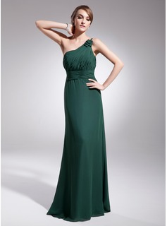 Evening Dresses Sheath One-Shoulder Floor-Length Chiffon Evening Dress With Ruffle (017014567)