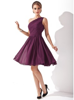 Burgundy Bridesmaid Dresses A-Line/Princess One-Shoulder Knee-Length Chiffon Bridesmaid Dress With Ruffle (007000918)