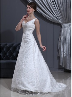 A-Line/Princess V-neck Sweep Train Satin Lace Wedding Dress With Beading (002012800)
