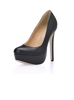 Women's Leatherette Stiletto Heel Pumps Platform Closed Toe shoes (085020585)