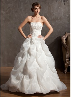 Ball-Gown Sweetheart Chapel Train Organza Satin Wedding Dress With Embroidery Beadwork (002014946)