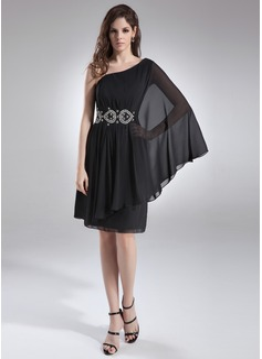 A-Line/Princess One-Shoulder Knee-Length Chiffon Cocktail Dress With Ruffle Beading (016008400)