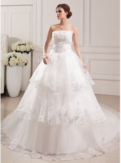 Ball-Gown Strapless Cathedral Train Satin Tulle Wedding Dress With Lace Beading (002019529)
