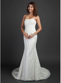 Trumpet/Mermaid Sweetheart Court Train Lace Wedding Dress With Ruffle Beading (002000460)