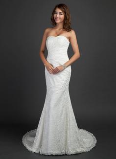 Trompete/Sereia Coração Cauda de sereia Renda Vestido de noiva com Pregueado Bordado (002000460)