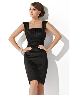 Sheath/Column Square Neckline Knee-Length Satin Cocktail Dress With Ruffle (016021138)