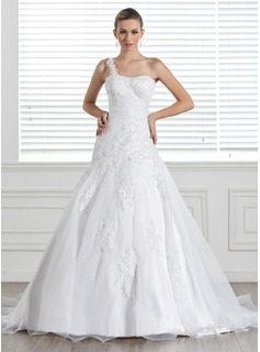 A-Line/Princess One-Shoulder Court Train Organza Satin Wedding Dress With Lace (002005321)