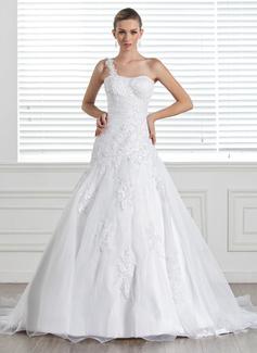Forme Princesse Encolure asymétrique Traîne moyenne Satiné Organza Robe de mariée avec Dentelle (002005321)