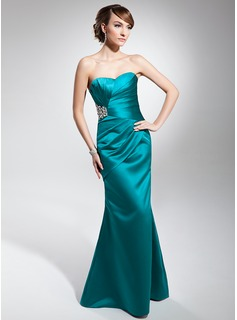 Cheap Evening Dresses Mermaid Sweetheart Floor-Length Satin Evening Dress With Ruffle Beading (017014678)