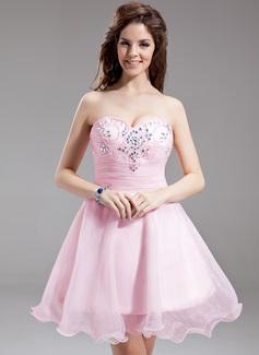 Forme Princesse Bustier en coeur Court/Mini Organza Robe de soirée étudiante avec Plissé Emperler (022016300)