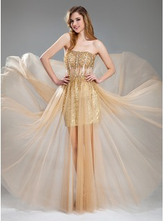 Prom Dresses A-Line/Princess Sweetheart Floor-Length Tulle Sequined Prom Dress With Beading (018018902)