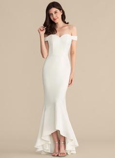 A sirena/Stile sirena Spalle scoperte Asimmetrico Crespo Elastico Abiti da sposa (002207450)