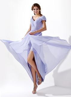 Forme Princesse Col V Traîne asymétrique Mousseline Robe bal d'étudiant avec Plissé (018021094)