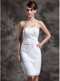 Sheath/Column Strapless Knee-Length Organza Satin Lace Wedding Dress With Beadwork Flower(s) Sequins (002015021)