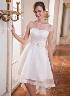 Forme Princesse Col rond Traîne asymétrique Organza Charmeuse Robe de mariée avec Dentelle Emperler Fleur(s) (002055226)