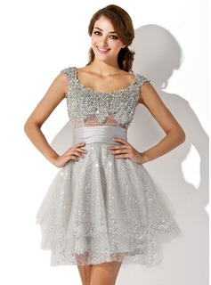 Forme Princesse Col rond Court/Mini Tulle Robe de cocktail avec Plissé Emperler Sequins (016005838)