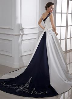 Robe Marquise Col V Traîne mi-longue Satiné Robe de mariée avec Broderie Brodé Paillettes (002015473)