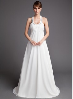 Empire Halter Court Train Chiffon Wedding Dress With Ruffle Beadwork (002001313)