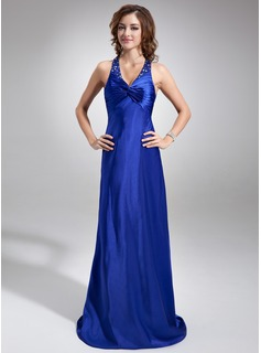Sheath/Column Halter Sweep Train Charmeuse Holiday Dress With Ruffle Beading (020025985)