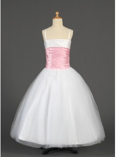 Ball Gown Floor-length Flower Girl Dress - Tulle/Charmeuse Sleeveless Straps With Sash (010014628)