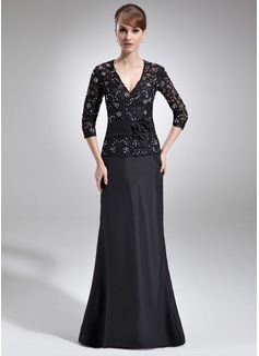 A-Linie/Princess-Linie V-Ausschnitt Bodenlang Taft Lace Kleid für die Brautmutter mit Perlstickerei Blumen Pailletten (008006045)