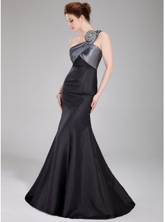 Mermaid One-Shoulder Floor-Length Taffeta Prom Dress With Ruffle Beading (018005107)