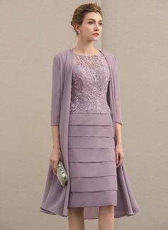 Etui-Linie U-Ausschnitt Knielang Chiffon Spitze Kleid für die Brautmutter mit Perlstickerei Pailletten (008152137)