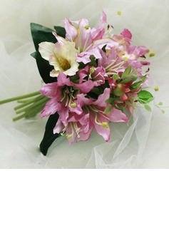 Elegant Hand-tied Satin Bridesmaid Bouquets (124032149)