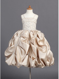 Flower Girl Dresses A-Line/Princess Floor-Length Satin Flower Girl Dress With Embroidered Ruffle Beading (010007808)