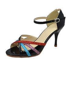 Women's Sparkling Glitter Patent Leather Heels Sandals Tango With Ankle Strap Dance Shoes (053022505)