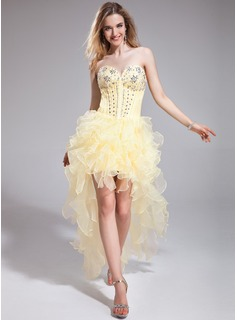 A-Line/Princess Sweetheart Asymmetrical Organza Prom Dress With Beading Cascading Ruffles (018025278)