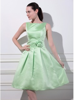 Formal Dresses Sydney A-Line/Princess Square Neckline Knee-Length Satin Bridesmaid Dress With Flower(s) (007012866)