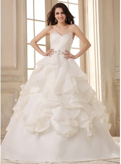 Ball-Gown Sweetheart Court Train Satin Organza Wedding Dress With Ruffle Beading Cascading Ruffles (002026593)