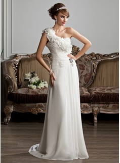 A-Line/Princess One-Shoulder Sweep Train Chiffon Wedding Dress With Ruffle Beading Flower(s) (002013807)