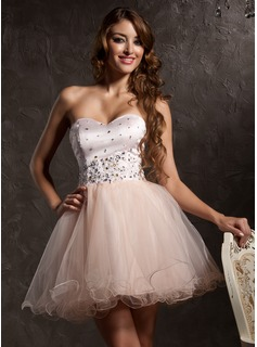 A-Line/Princess Sweetheart Short/Mini Satin Tulle Homecoming Dress With Beading Appliques Lace (022008954)