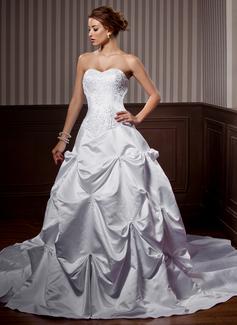 Forme Princesse Bustier en coeur Traîne mi-longue Satiné Robe de mariée avec Broderie Plissé Emperler (002000453)