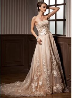 A-Line/Princess Strapless Court Train Organza Satin Wedding Dress With Ruffle Lace Beading (002012639)