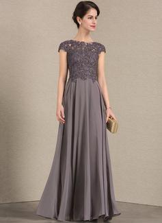 A-Linie/Princess-Linie U-Ausschnitt Bodenlang Chiffon Spitze Kleid für die Brautmutter mit Perlstickerei (008143385)