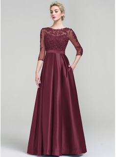 Ball-Gown Scoop Neck Floor-Length Satin Evening Dress (017093487)