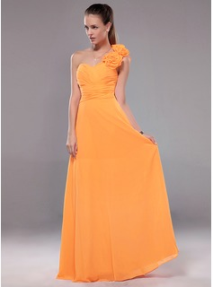 Cheap Evening Dresses A-Line/Princess One-Shoulder Floor-Length Chiffon Evening Dress With Ruffle Flower(s) (017012109)