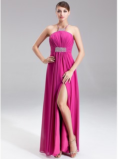 Empire Halter Floor-Length Chiffon Holiday Dress With Ruffle Beading Split Front (020025974)