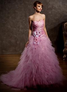 Balklänning Hjärtformad Court släp Taft Tyll Bröllopsklänning med Rufsar Blomma (or) (002011428)